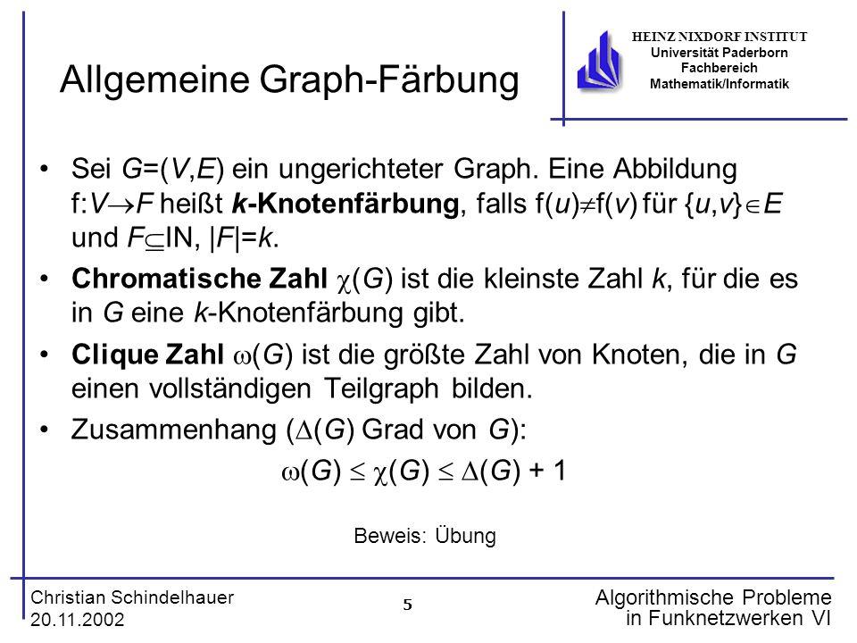 5 Christian Schindelhauer 20.11.2002 HEINZ NIXDORF INSTITUT Universität Paderborn Fachbereich Mathematik/Informatik Algorithmische Probleme in Funknet