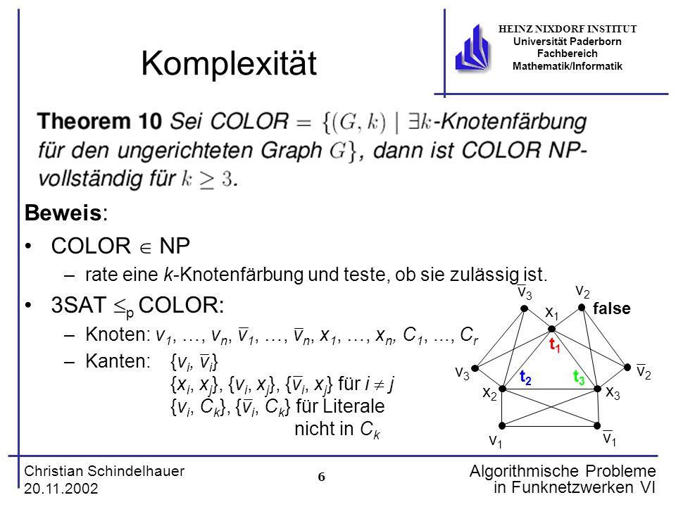 6 Christian Schindelhauer 20.11.2002 HEINZ NIXDORF INSTITUT Universität Paderborn Fachbereich Mathematik/Informatik Algorithmische Probleme in Funknet