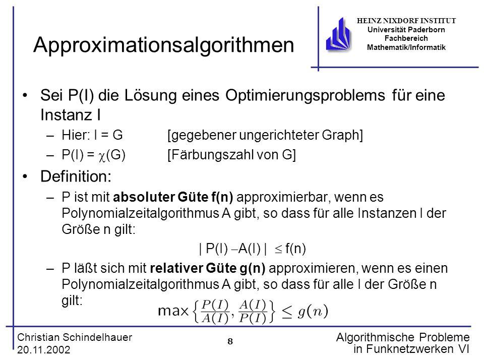 8 Christian Schindelhauer 20.11.2002 HEINZ NIXDORF INSTITUT Universität Paderborn Fachbereich Mathematik/Informatik Algorithmische Probleme in Funknet