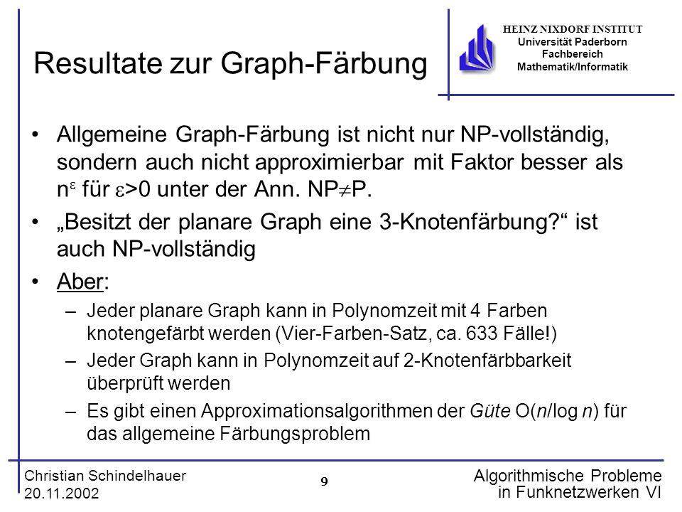 9 Christian Schindelhauer 20.11.2002 HEINZ NIXDORF INSTITUT Universität Paderborn Fachbereich Mathematik/Informatik Algorithmische Probleme in Funknet