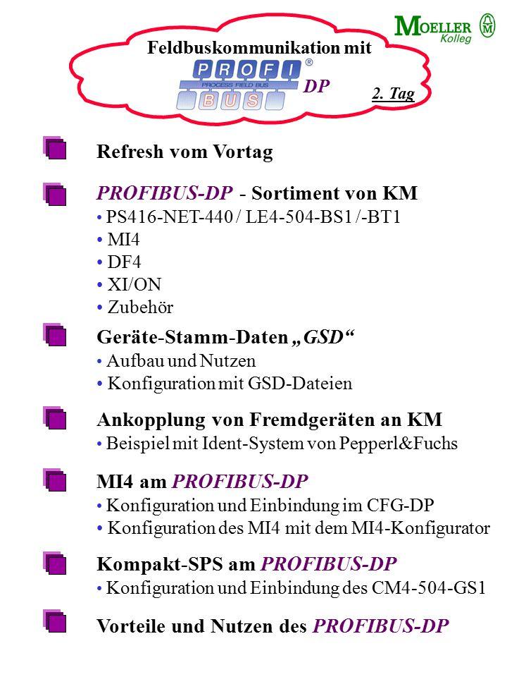 Feldbuskommunikation mit Refresh vom Vortag PROFIBUS-DP - Sortiment von KM PS416-NET-440 / LE4-504-BS1 /-BT1 MI4 DF4 XI/ON Zubehör Geräte-Stamm-Daten