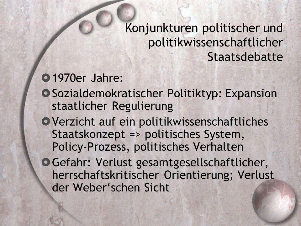 Konjunkturen politischer und politikwissenschaftlicher Staatsdebatte  1970er Jahre:  Sozialdemokratischer Politiktyp: Expansion staatlicher Regulierung  Verzicht auf ein politikwissenschaftliches Staatskonzept => politisches System, Policy-Prozess, politisches Verhalten  Gefahr: Verlust gesamtgesellschaftlicher, herrschaftskritischer Orientierung; Verlust der Weber'schen Sicht