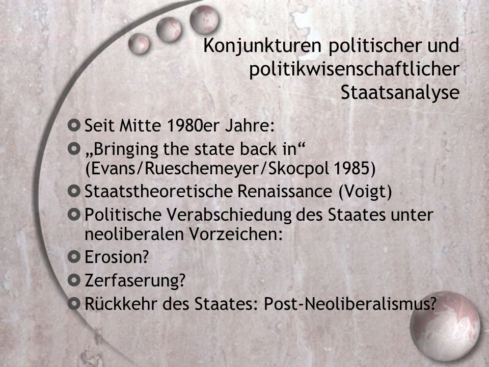 """Konjunkturen politischer und politikwisenschaftlicher Staatsanalyse  Seit Mitte 1980er Jahre:  """"Bringing the state back in"""" (Evans/Rueschemeyer/Skoc"""