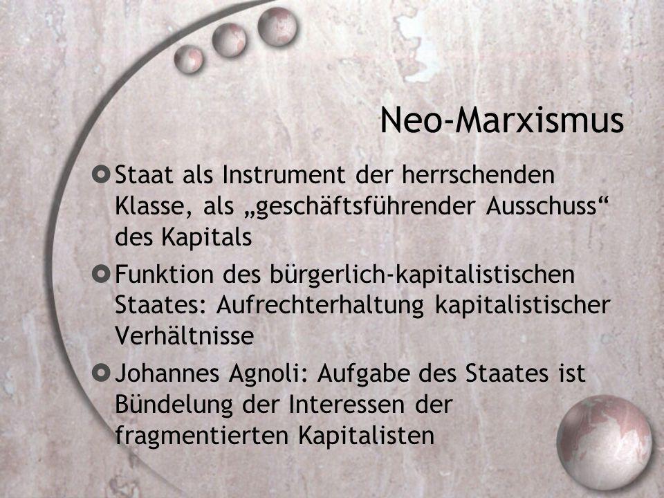 """Neo-Marxismus  Staat als Instrument der herrschenden Klasse, als """"geschäftsführender Ausschuss des Kapitals  Funktion des bürgerlich-kapitalistischen Staates: Aufrechterhaltung kapitalistischer Verhältnisse  Johannes Agnoli: Aufgabe des Staates ist Bündelung der Interessen der fragmentierten Kapitalisten"""