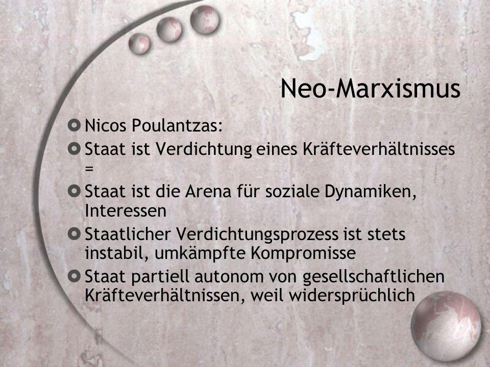 Neo-Marxismus  Nicos Poulantzas:  Staat ist Verdichtung eines Kräfteverhältnisses =  Staat ist die Arena für soziale Dynamiken, Interessen  Staatlicher Verdichtungsprozess ist stets instabil, umkämpfte Kompromisse  Staat partiell autonom von gesellschaftlichen Kräfteverhältnissen, weil widersprüchlich