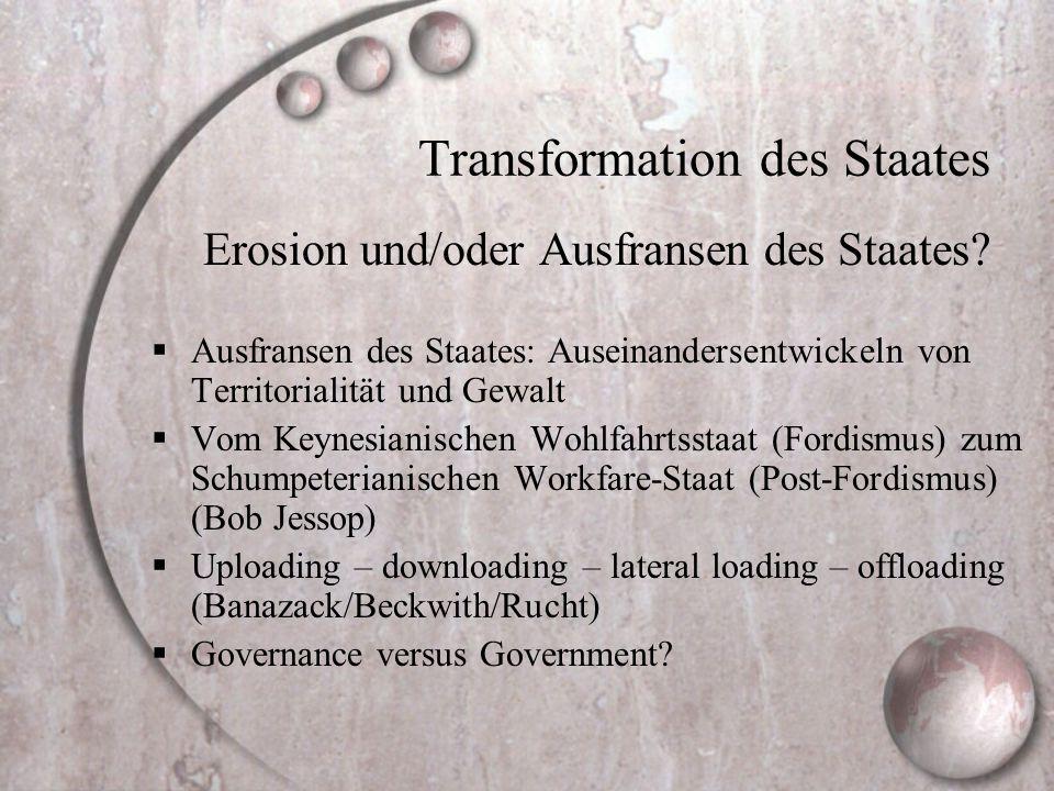 Transformation des Staates Erosion und/oder Ausfransen des Staates?  Ausfransen des Staates: Auseinandersentwickeln von Territorialität und Gewalt 