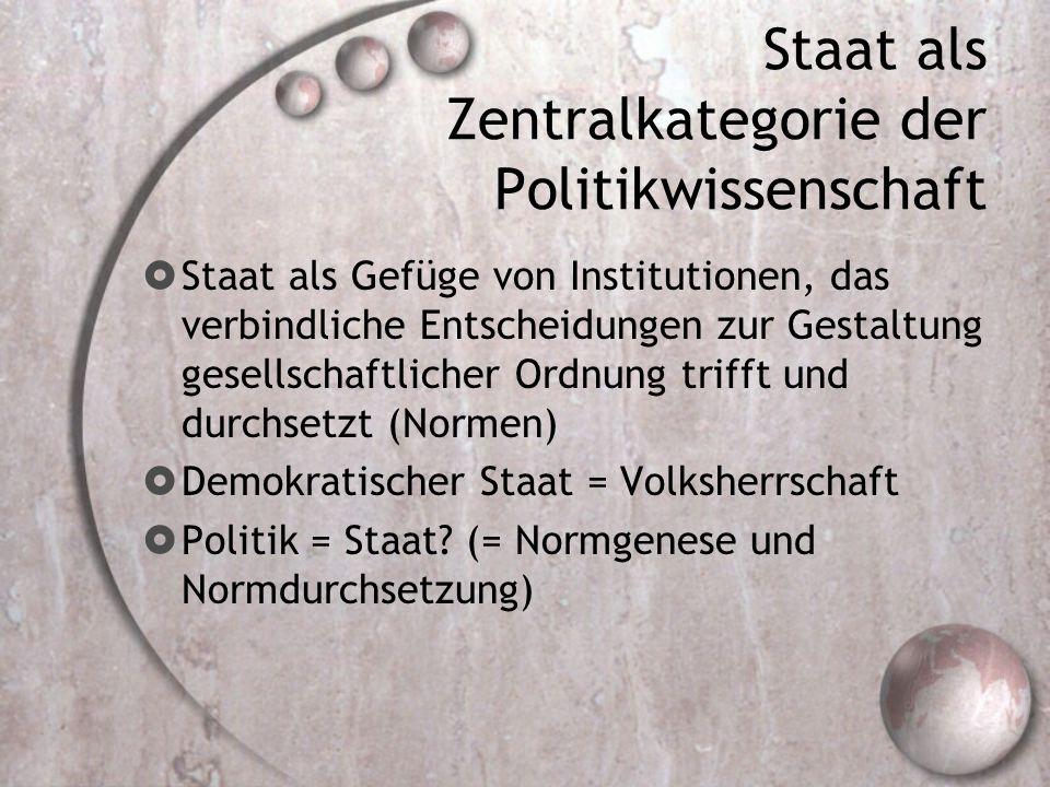 Staat als Zentralkategorie der Politikwissenschaft  Staat als Gefüge von Institutionen, das verbindliche Entscheidungen zur Gestaltung gesellschaftlicher Ordnung trifft und durchsetzt (Normen)  Demokratischer Staat = Volksherrschaft  Politik = Staat.