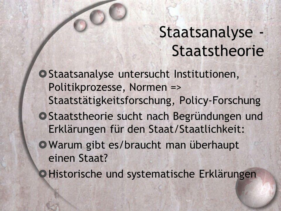 Staatsanalyse - Staatstheorie  Staatsanalyse untersucht Institutionen, Politikprozesse, Normen => Staatstätigkeitsforschung, Policy-Forschung  Staatstheorie sucht nach Begründungen und Erklärungen für den Staat/Staatlichkeit:  Warum gibt es/braucht man überhaupt einen Staat.
