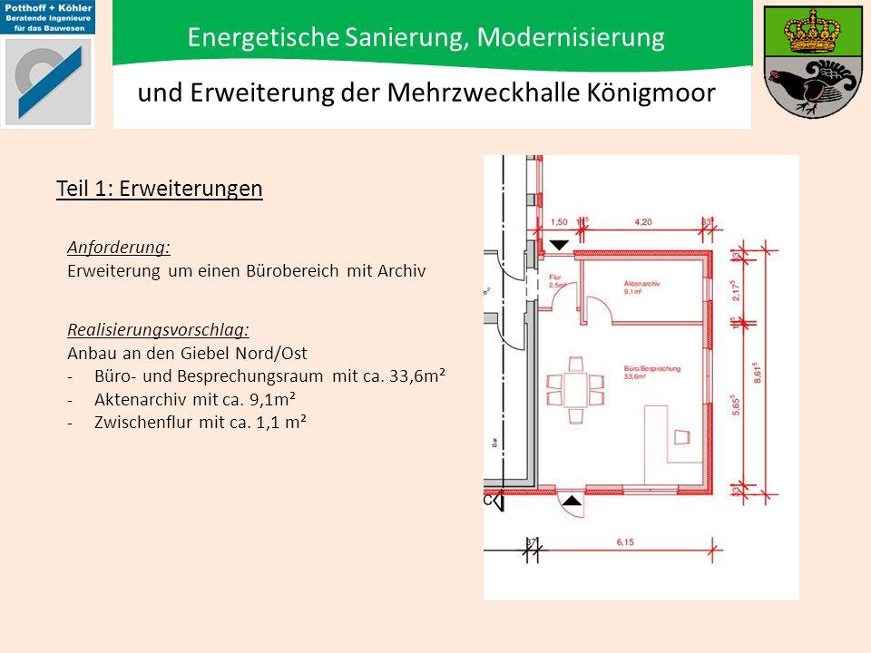 Energetische Sanierung, Modernisierung und Erweiterung der Mehrzweckhalle Königmoor Anforderung: Erweiterung des Geräteraumes Teil 1: Erweiterungen Realisierungsvorschlag: Anbau an Nord/West Fassade -Geräteraumerweiterung mit ca.