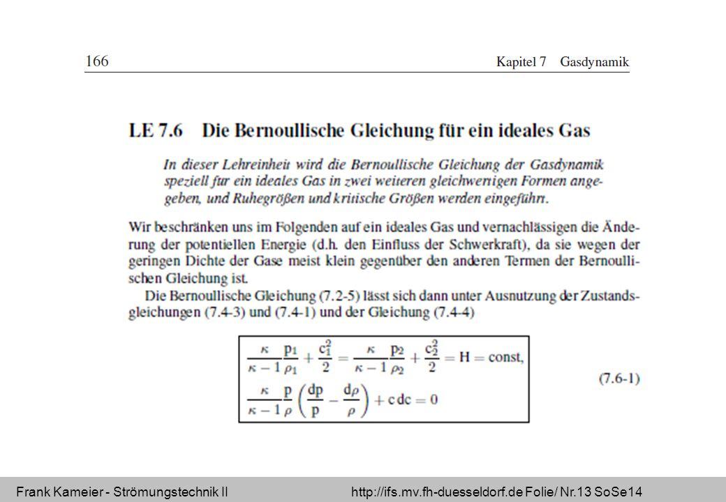 Frank Kameier - Strömungstechnik II http://ifs.mv.fh-duesseldorf.de Folie/ Nr.13 SoSe14