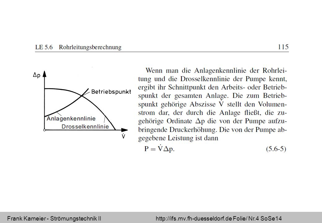 Frank Kameier - Strömungstechnik II http://ifs.mv.fh-duesseldorf.de Folie/ Nr.4 SoSe14