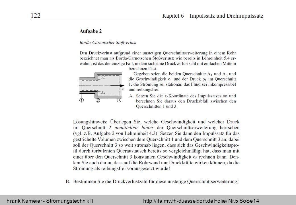 Frank Kameier - Strömungstechnik II http://ifs.mv.fh-duesseldorf.de Folie/ Nr.5 SoSe14