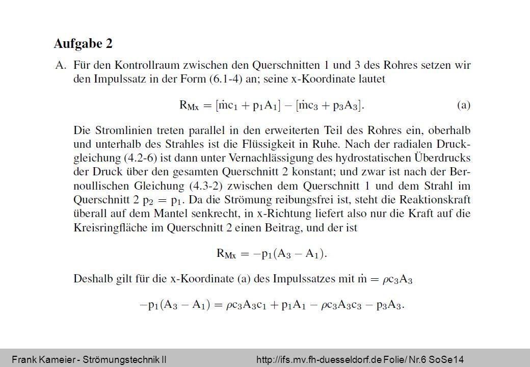 Frank Kameier - Strömungstechnik II http://ifs.mv.fh-duesseldorf.de Folie/ Nr.6 SoSe14