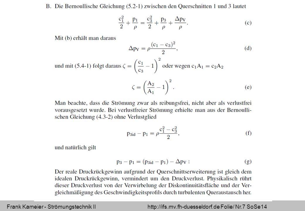 Frank Kameier - Strömungstechnik II http://ifs.mv.fh-duesseldorf.de Folie/ Nr.7 SoSe14