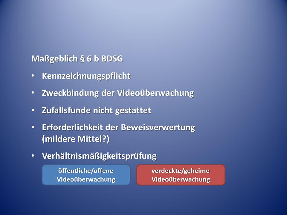 Maßgeblich § 6 b BDSG Kennzeichnungspflicht Kennzeichnungspflicht Zweckbindung der Videoüberwachung Zweckbindung der Videoüberwachung Zufallsfunde nic