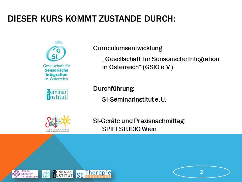 """DIESER KURS KOMMT ZUSTANDE DURCH: Curriculumsentwicklung: """"Gesellschaft für Sensorische Integration in Österreich (GSIÖ e.V.) Durchführung: SI-SeminarInstitut e.U."""