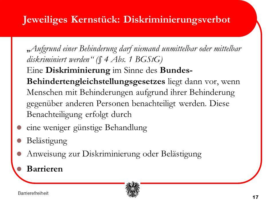 """17 Jeweiliges Kernstück: Diskriminierungsverbot """" Aufgrund einer Behinderung darf niemand unmittelbar oder mittelbar diskriminiert werden"""" (§ 4 Abs. 1"""