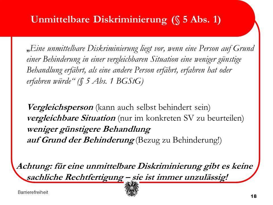 """18 Unmittelbare Diskriminierung (§ 5 Abs. 1) """" Eine unmittelbare Diskriminierung liegt vor, wenn eine Person auf Grund einer Behinderung in einer verg"""