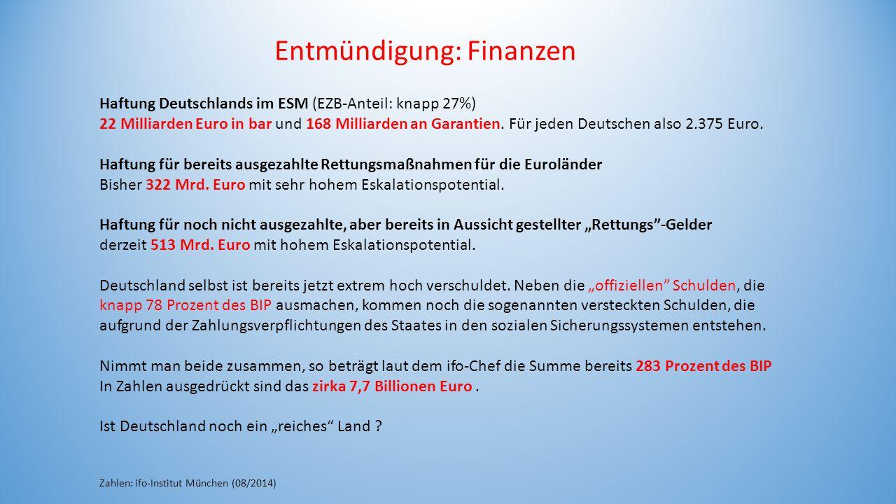 Entmündigung: Finanzen Haftung Deutschlands im ESM (EZB-Anteil: knapp 27%) 22 Milliarden Euro in bar und 168 Milliarden an Garantien. Für jeden Deutsc