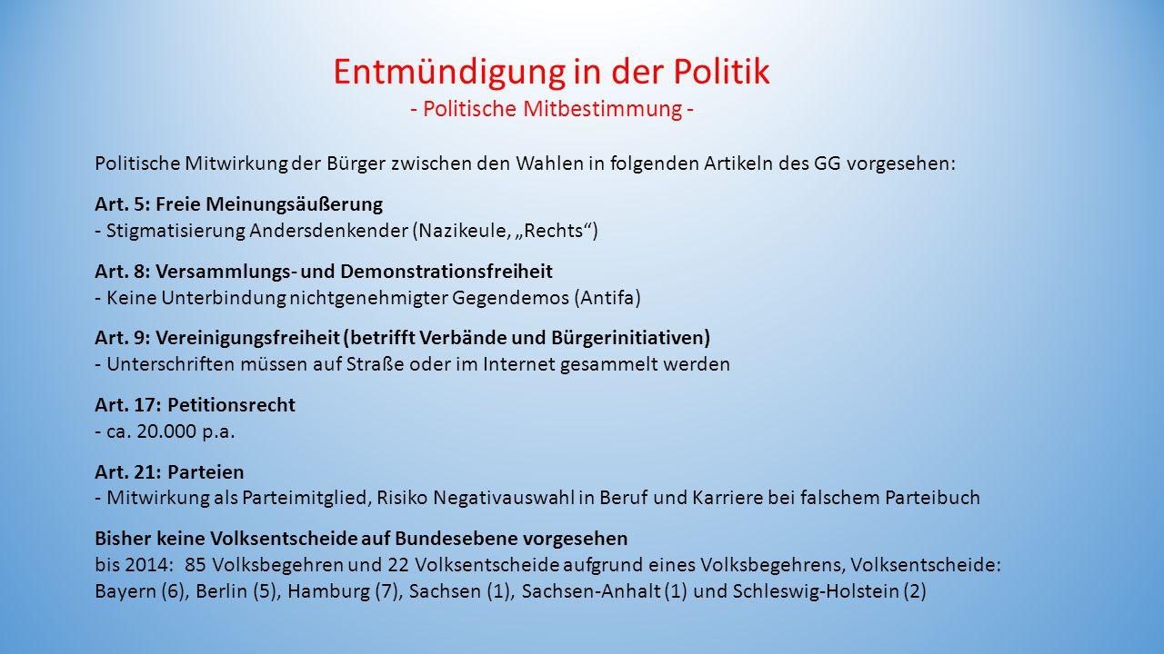 Entmündigung in der Politik - Politische Mitbestimmung - Politische Mitwirkung der Bürger zwischen den Wahlen in folgenden Artikeln des GG vorgesehen: