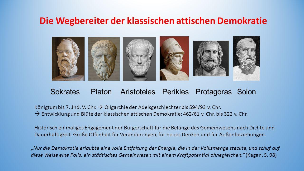"""Die Wegbereiter der klassischen attischen Demokratie Sokrates Platon Aristoteles Perikles Protagoras Solon """"Nur die Demokratie erlaubte eine volle Ent"""