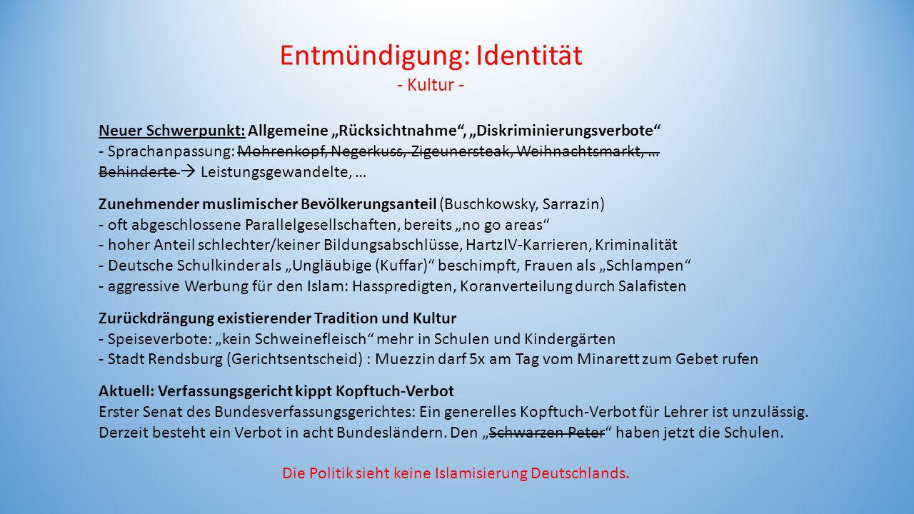 """Neuer Schwerpunkt: Allgemeine """"Rücksichtnahme"""", """"Diskriminierungsverbote"""" - Sprachanpassung: Mohrenkopf, Negerkuss, Zigeunersteak, Weihnachtsmarkt, …"""