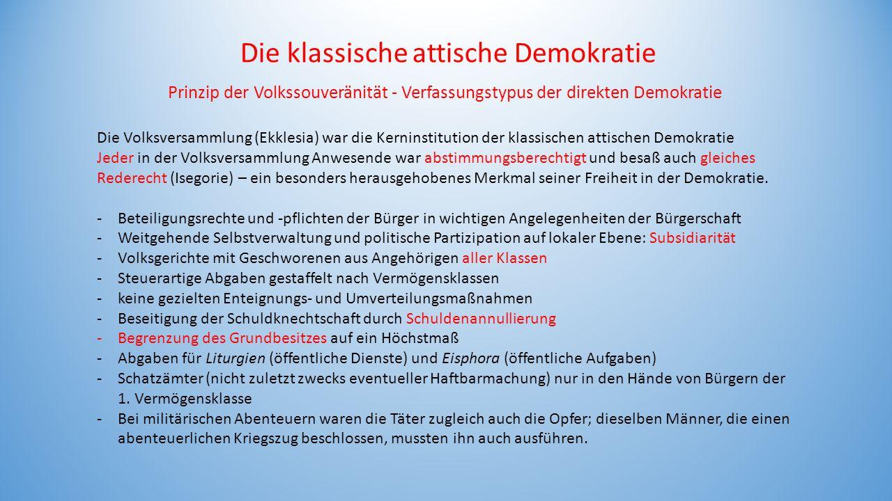 Die klassische attische Demokratie Prinzip der Volkssouveränität - Verfassungstypus der direkten Demokratie Die Volksversammlung (Ekklesia) war die Ke