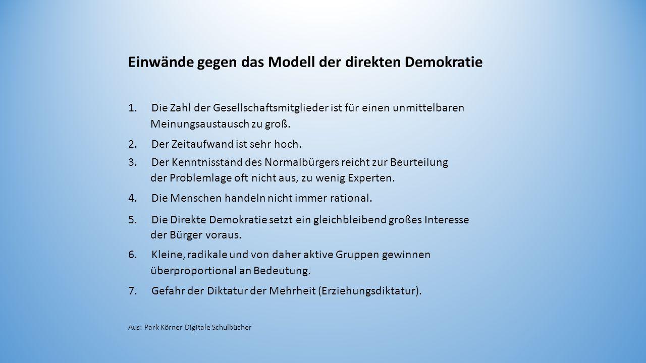 Einwände gegen das Modell der direkten Demokratie 1. Die Zahl der Gesellschaftsmitglieder ist für einen unmittelbaren Meinungsaustausch zu groß. 2. De