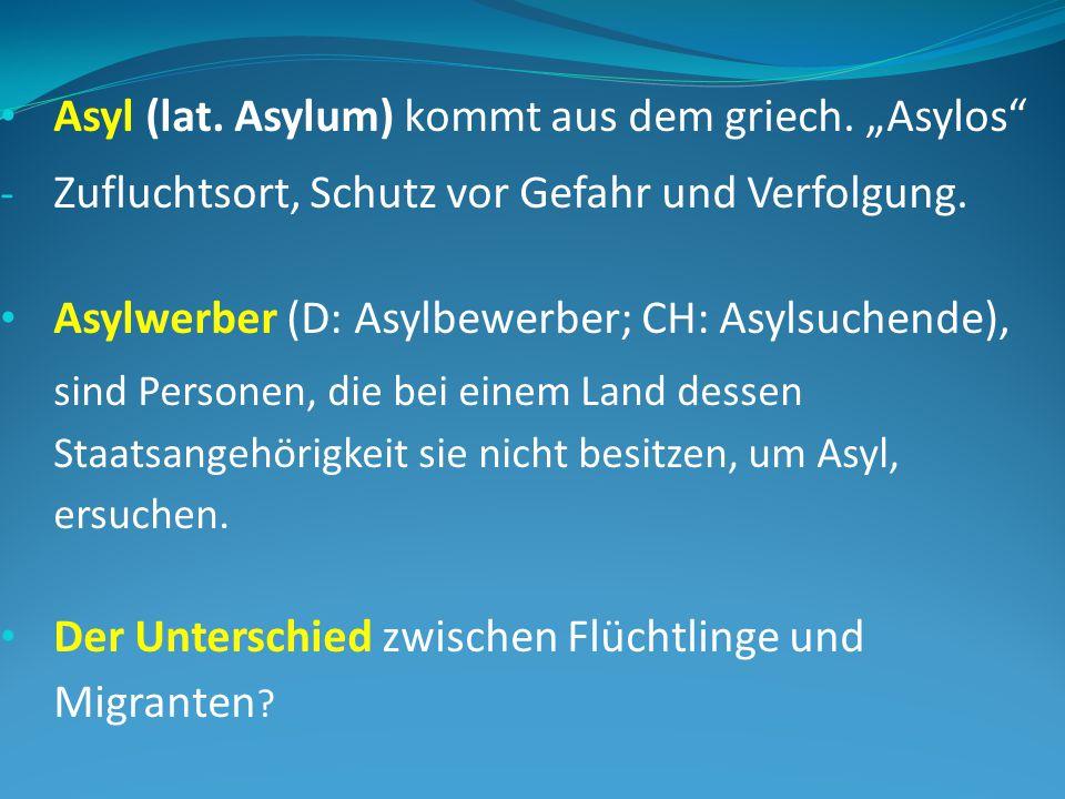 """Asyl (lat.Asylum) kommt aus dem griech. """"Asylos - Zufluchtsort, Schutz vor Gefahr und Verfolgung."""