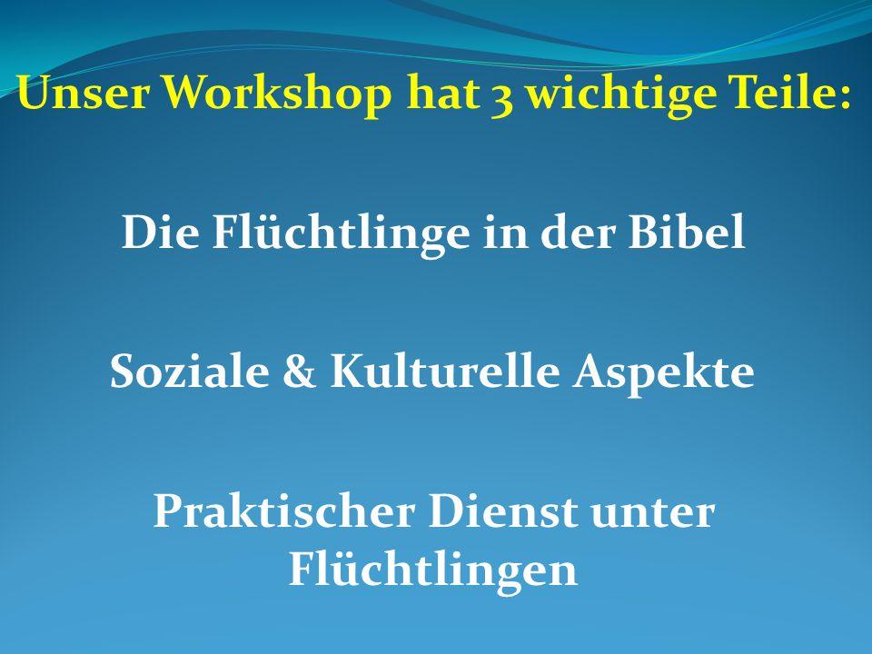 Unser Workshop hat 3 wichtige Teile: Die Flüchtlinge in der Bibel Soziale & Kulturelle Aspekte Praktischer Dienst unter Flüchtlingen