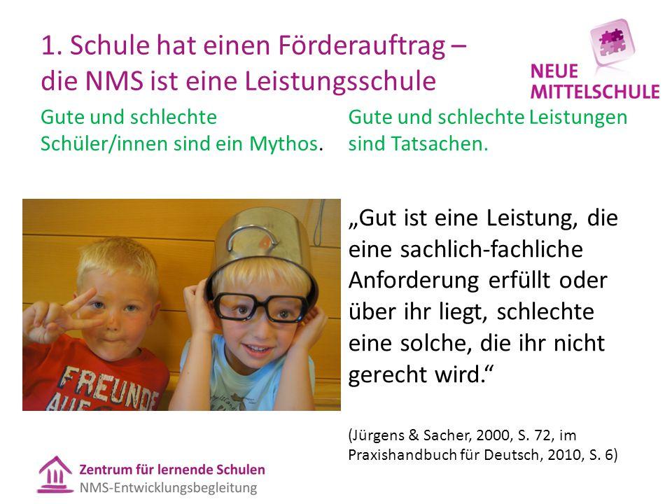 1. Schule hat einen Förderauftrag – die NMS ist eine Leistungsschule Gute und schlechte Schüler/innen sind ein Mythos. Gute und schlechte Leistungen s