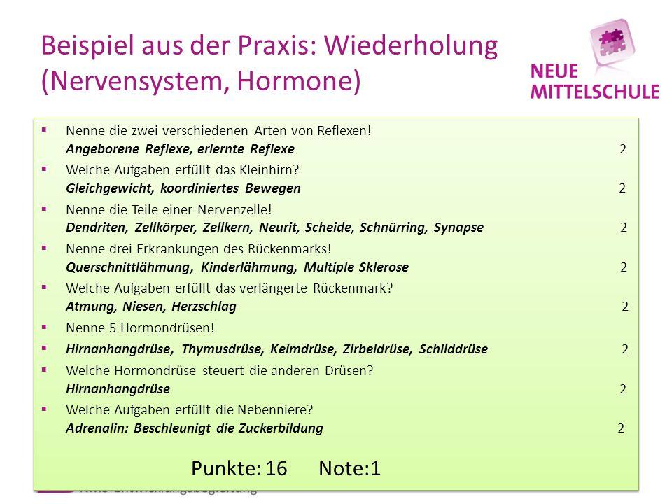 Beispiel aus der Praxis: Wiederholung (Nervensystem, Hormone)  Nenne die zwei verschiedenen Arten von Reflexen! Angeborene Reflexe, erlernte Reflexe