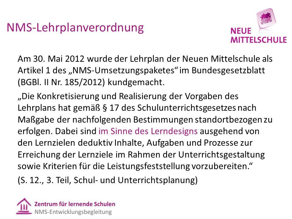 """NMS-Lehrplanverordnung Am 30. Mai 2012 wurde der Lehrplan der Neuen Mittelschule als Artikel 1 des """"NMS-Umsetzungspaketes"""" im Bundesgesetzblatt (BGBl."""