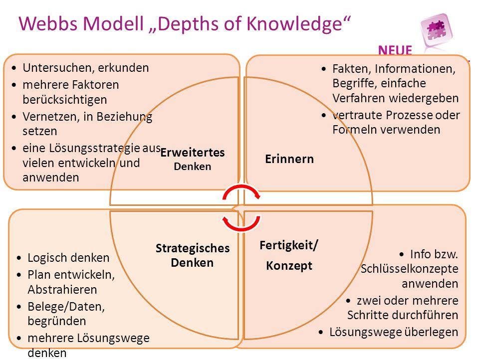 """Webbs Modell """"Depths of Knowledge"""" Info bzw. Schlüsselkonzepte anwenden zwei oder mehrere Schritte durchführen Lösungswege überlegen Logisch denken Pl"""