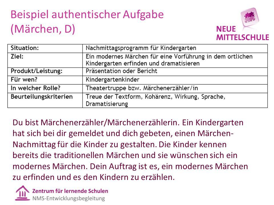 Beispiel authentischer Aufgabe (Märchen, D) Du bist Märchenerzähler/Märchenerzählerin. Ein Kindergarten hat sich bei dir gemeldet und dich gebeten, ei