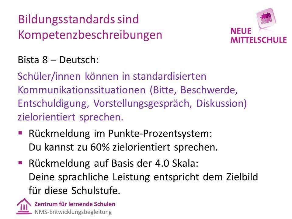 Bildungsstandards sind Kompetenzbeschreibungen Bista 8 – Deutsch: Schüler/innen können in standardisierten Kommunikationssituationen (Bitte, Beschwerd