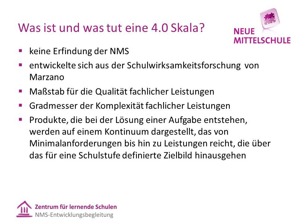 Was ist und was tut eine 4.0 Skala?  keine Erfindung der NMS  entwickelte sich aus der Schulwirksamkeitsforschung von Marzano  Maßstab für die Qual