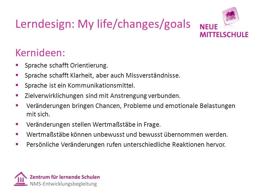 Lerndesign: My life/changes/goals Kernideen:  Sprache schafft Orientierung.  Sprache schafft Klarheit, aber auch Missverständnisse.  Sprache ist ei