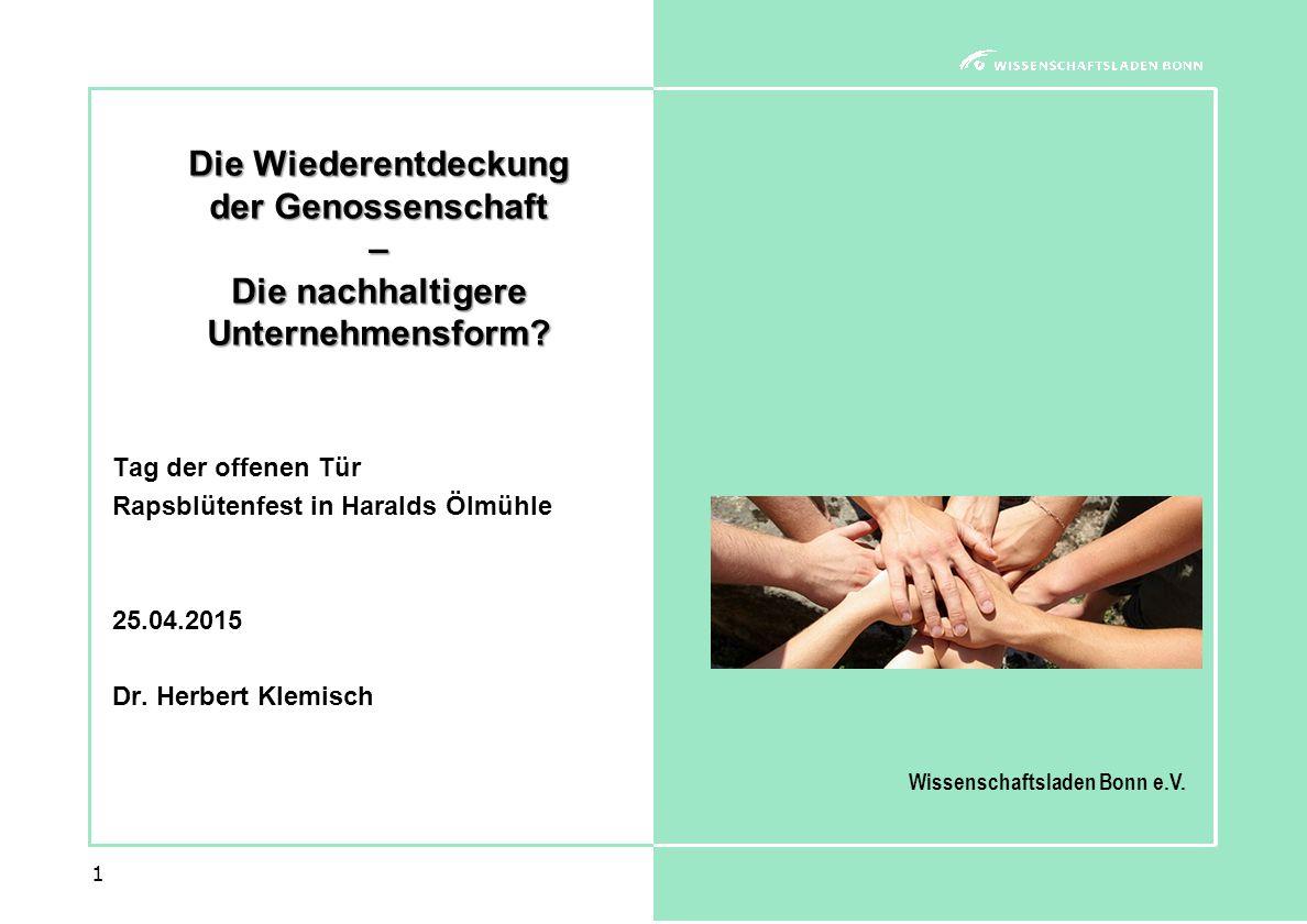 1 Die Wiederentdeckung der Genossenschaft – Die nachhaltigere Unternehmensform.