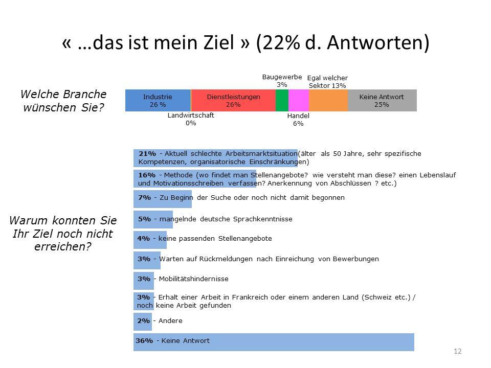 « …das ist mein Ziel » (22% d. Antworten) 12 Welche Branche wünschen Sie? Warum konnten Sie Ihr Ziel noch nicht erreichen? 21% - Aktuell schlechte Arb