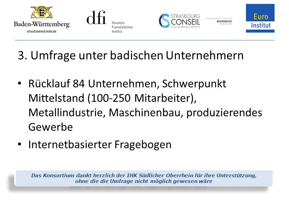 3. Umfrage unter badischen Unternehmern Rücklauf 84 Unternehmen, Schwerpunkt Mittelstand (100-250 Mitarbeiter), Metallindustrie, Maschinenbau, produzi