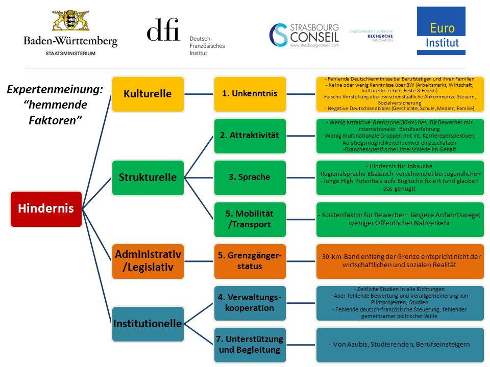 Hindernis Kulturelle 1. Unkenntnis - Fehlende Deutschkenntnisse bei Berufstätigen und ihren Familien - Keine oder wenig Kenntnisse über BW (Arbeitsmar