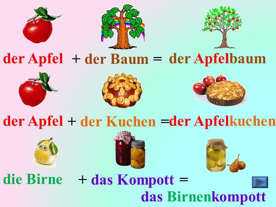 der Apfel+ der Baum =der Apfelbaum der Apfel+ der Kuchen =der Apfelkuchen die Birne+ das Kompott = das Birnenkompott