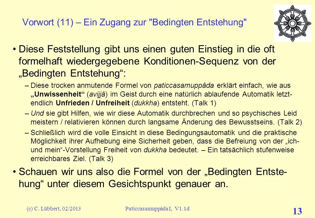 (c) C. Lübbert, 02/2013Paticcasamuppâda I, V1.1d 12 Vorwort (10) – Ein Zugang zur