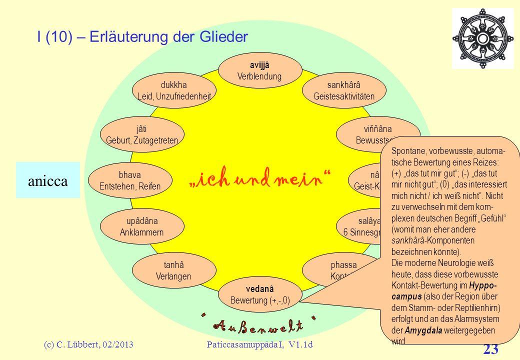 "(c) C. Lübbert, 02/2013Paticcasamuppâda I, V1.1d 22 ""ich und mein"" I (9) – Erläuterung der Glieder avijjâ Verblendung sankhârâ Geistesaktivitäten viňň"