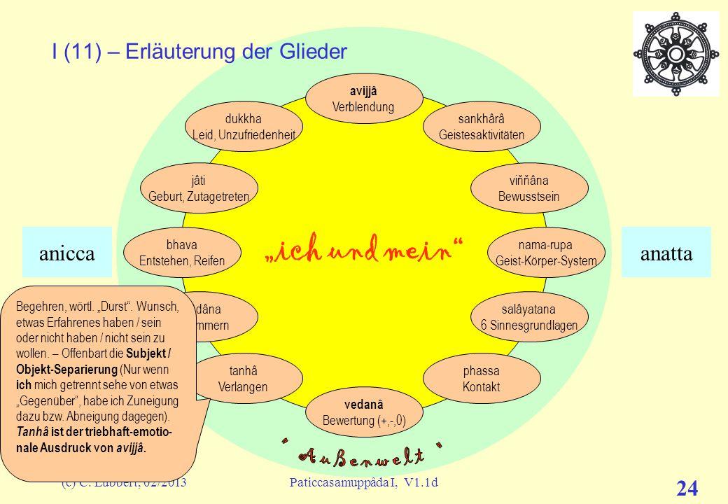 """(c) C. Lübbert, 02/2013Paticcasamuppâda I, V1.1d 23 """"ich und mein"""" I (10) – Erläuterung der Glieder avijjâ Verblendung sankhârâ Geistesaktivitäten viň"""