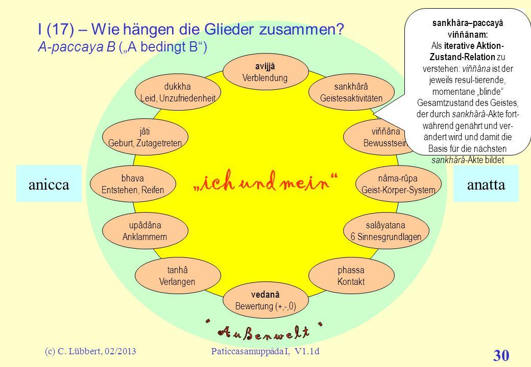 """(c) C. Lübbert, 02/2013Paticcasamuppâda I, V1.1d 29 """"ich und mein"""" I (16) – Wie hängen die Glieder zusammen? In Pâli:"""