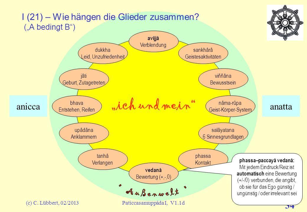 """(c) C. Lübbert, 02/2013Paticcasamuppâda I, V1.1d 33 """"ich und mein"""" I (20) – Wie hängen die Glieder zusammen? A-paccaya B (""""A bedingt B"""") avijjâ Verble"""
