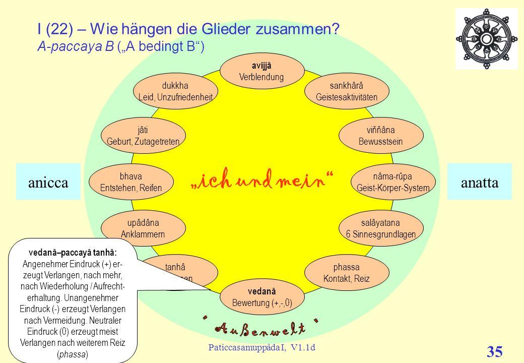 """(c) C. Lübbert, 02/2013Paticcasamuppâda I, V1.1d 34 """"ich und mein"""" I (21) – Wie hängen die Glieder zusammen? (""""A bedingt B"""") avijjâ Verblendung sankhâ"""