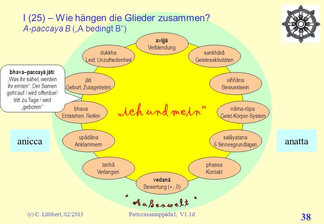 """(c) C. Lübbert, 02/2013Paticcasamuppâda I, V1.1d 37 """"ich und mein"""" I (24) – Wie hängen die Glieder zusammen? A-paccaya B (""""A bedingt B"""") avijjâ Verble"""